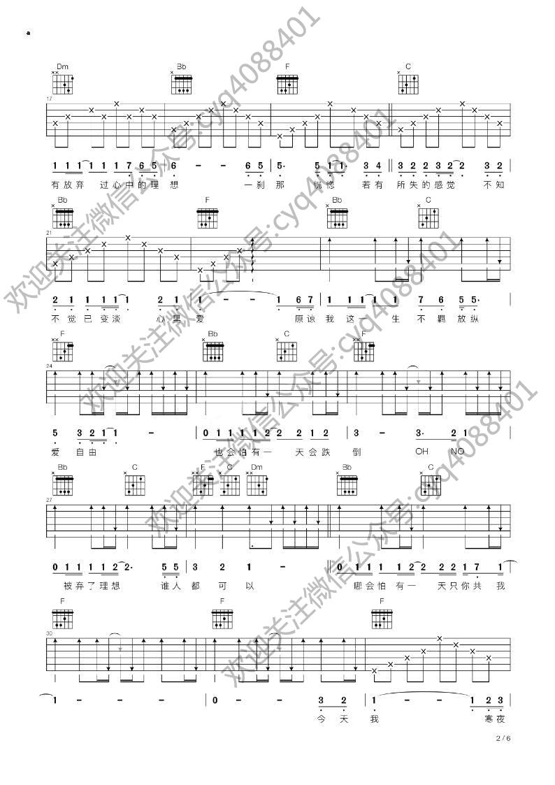 求家驹《海阔天空》F调的吉他谱